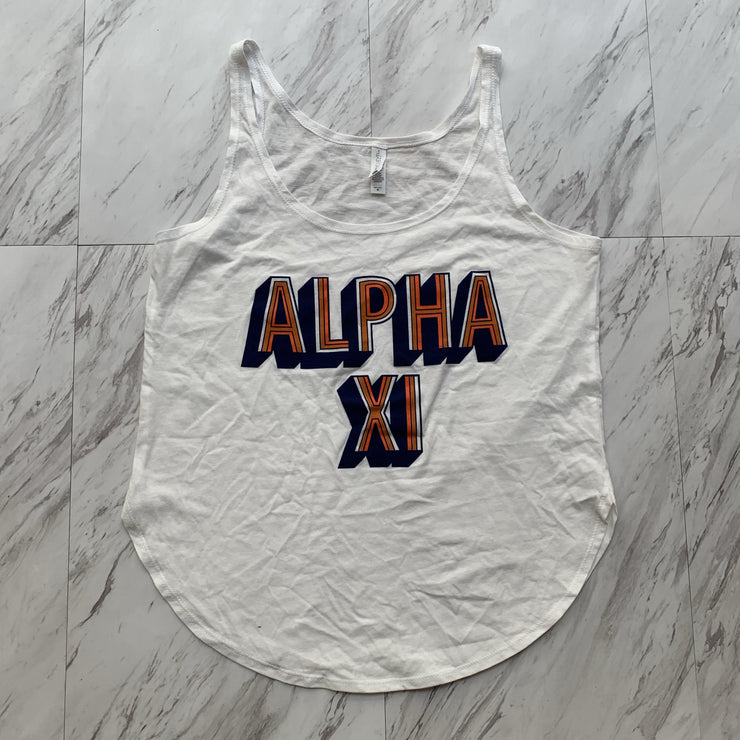 Alpha Xi Delta block letter ladies tank
