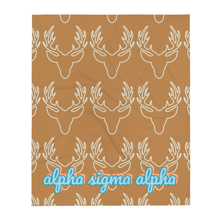 Alpha Sigma Alpha Deer Throw Blanket