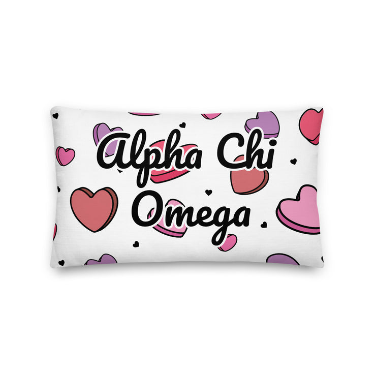 Alpha Chi Omega Candy Hearts Premium Pillow