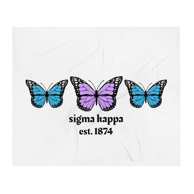 Sigma Kappa Butterfly Throw Blanket