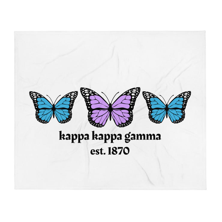 Kappa Kappa Gamma Butterfly Throw Blanket