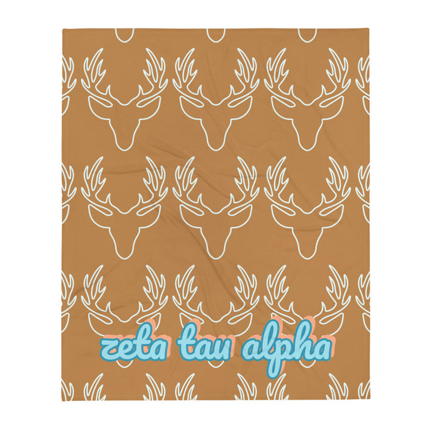 Zeta Tau Alpha Deer Throw Blanket