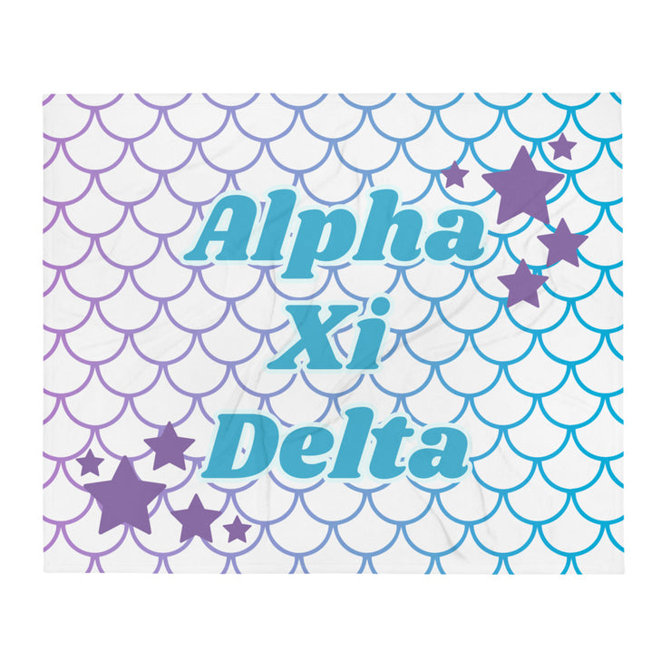 Alpha Xi Delta Mermaid Throw Blanket