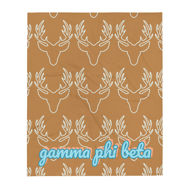 Gamma Phi Beta Deer Throw Blanket