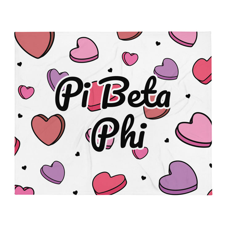 Pi Beta Phi Candy Hearts Throw Blanket