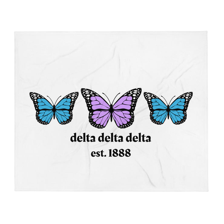 Delta Delta Delta Butterfly Throw Blanket