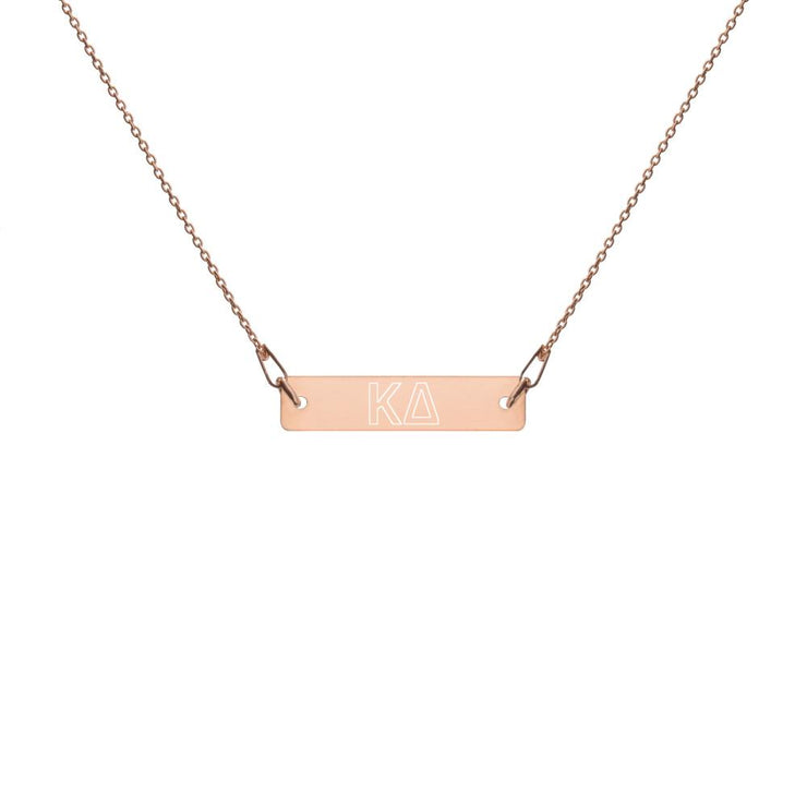 Kappa Delta Engraved Bar Chain Necklace