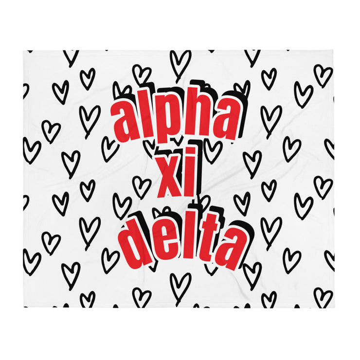 Alpha Xi Delta Simple Heart Throw Blanket