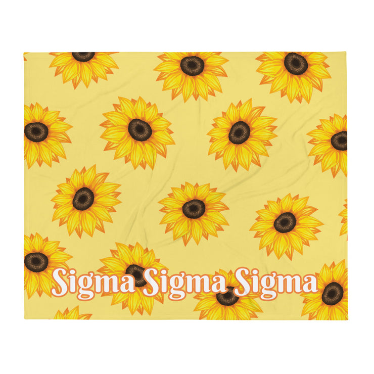 Sigma Sigma Sigma Sunflower Throw Blanket