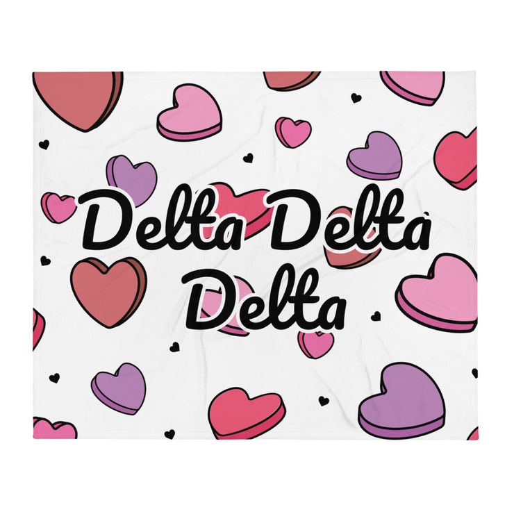 Delta Delta Delta Candy Hearts Throw Blanket