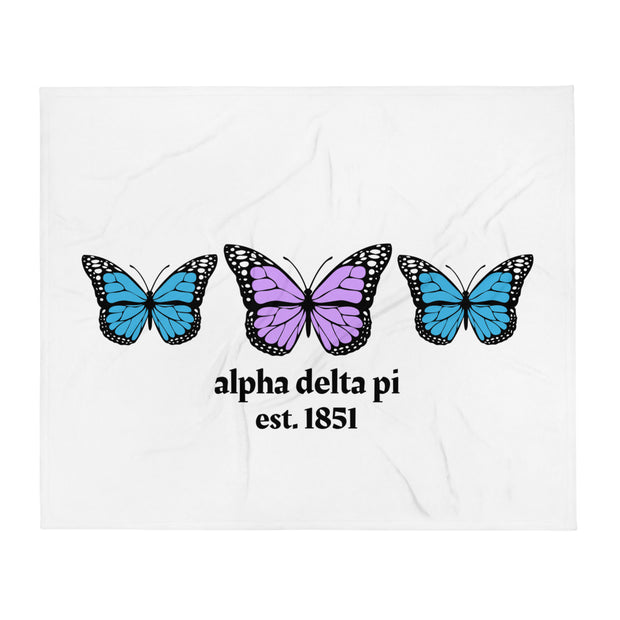 Alpha Delta Pi Butterfly Throw Blanket