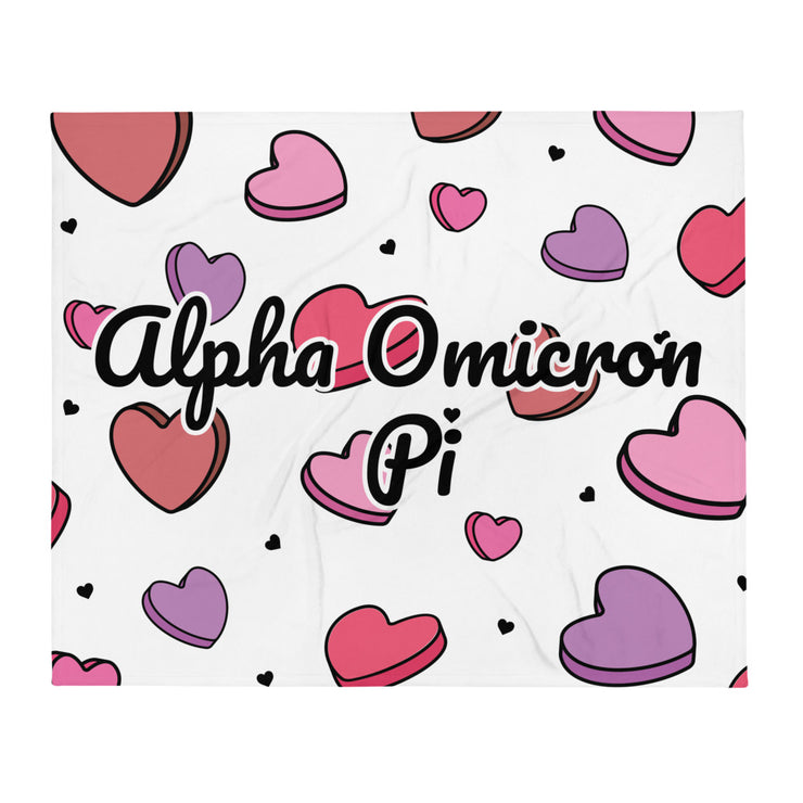 Alpha Omicron Pi Candy Hearts Throw Blanket