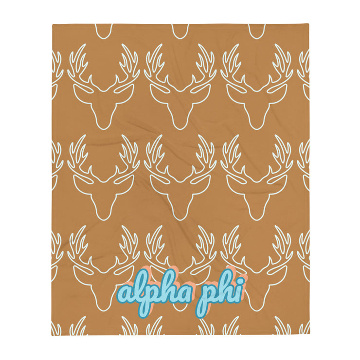 Alpha Phi Deer Throw Blanket