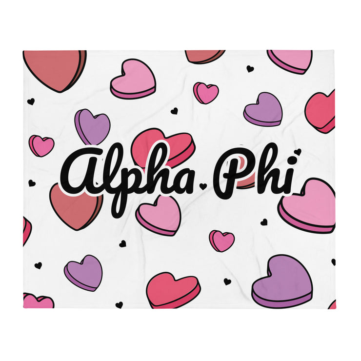 Alpha Phi Candy Hearts Throw Blanket