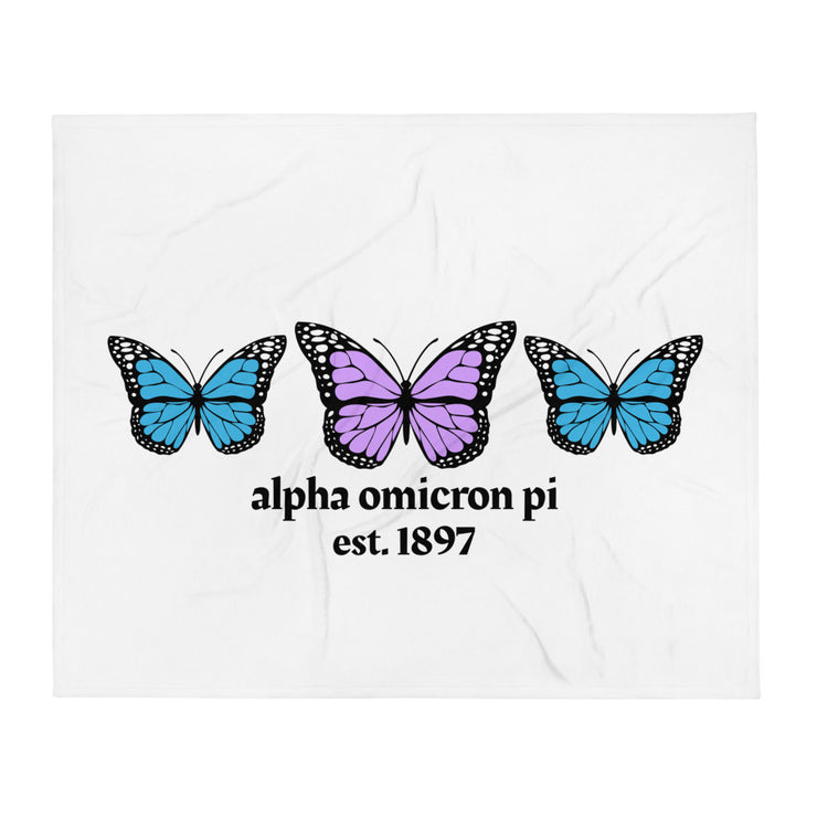 Alpha Omicron Pi Butterfly Throw Blanket