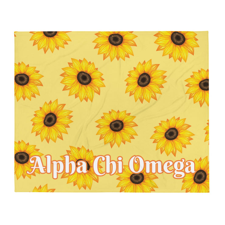 Alpha Chi Omega Sunflower Throw Blanket
