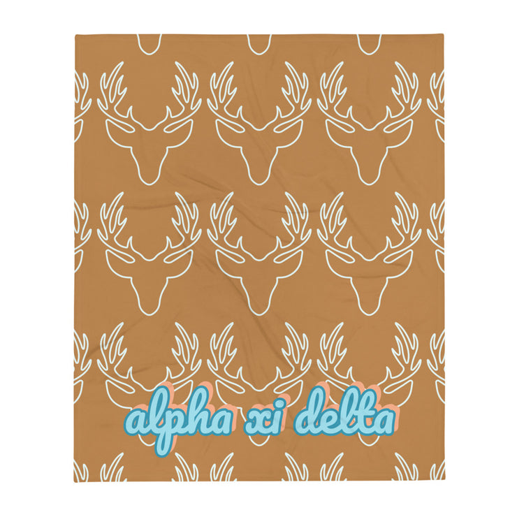 Alpha Xi Delta Deer Throw Blanket