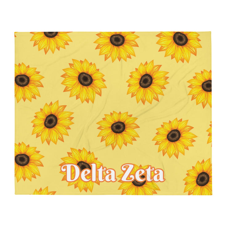 Delta Zeta Sunflower Throw Blanket