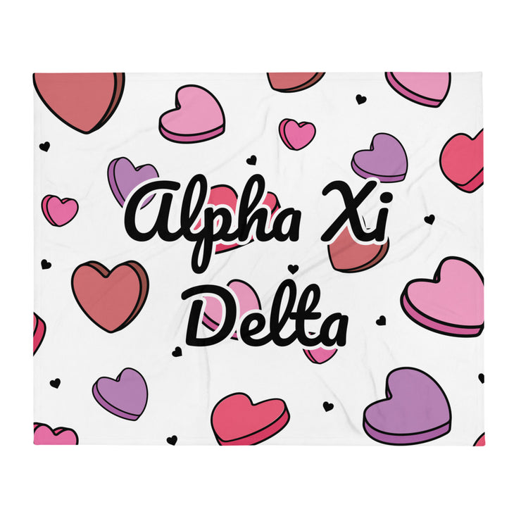 Alpha Xi Delta Candy Hearts Throw Blanket