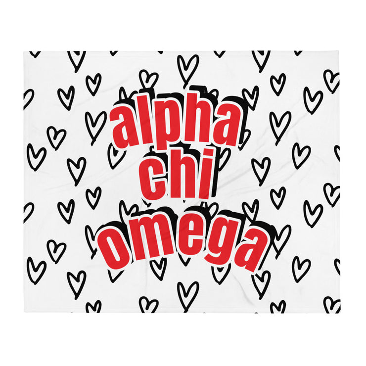Alpha Chi Omega Simple Heart Throw Blanket