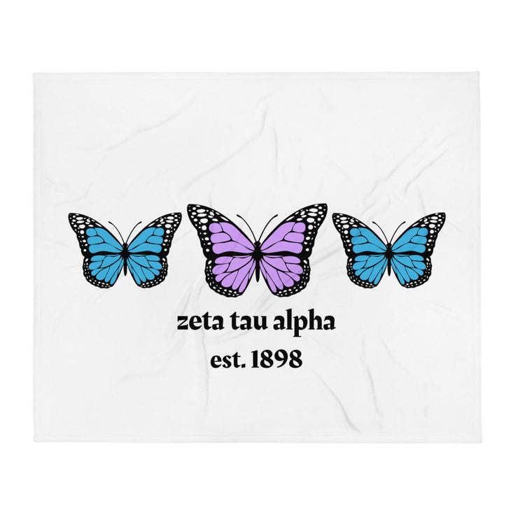 Zeta Tau Alpha Butterfly Throw Blanket