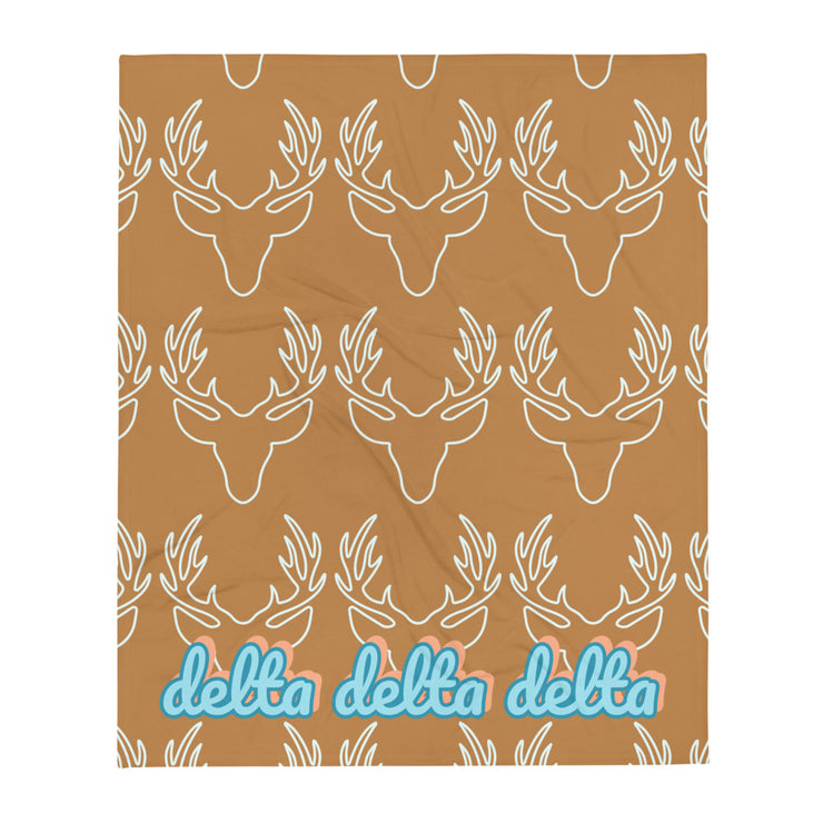 Delta Delta Delta Deer Throw Blanket