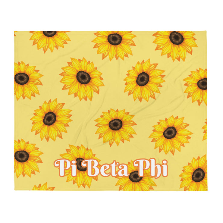 Pi Beta Phi Sunflower Throw Blanket