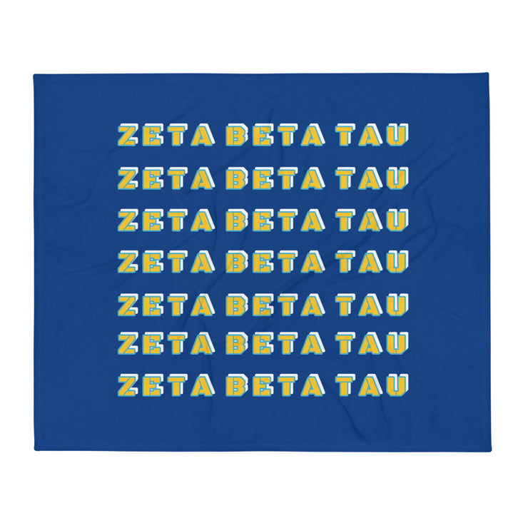 Zeta Beta Tau Retro Throw Blanket