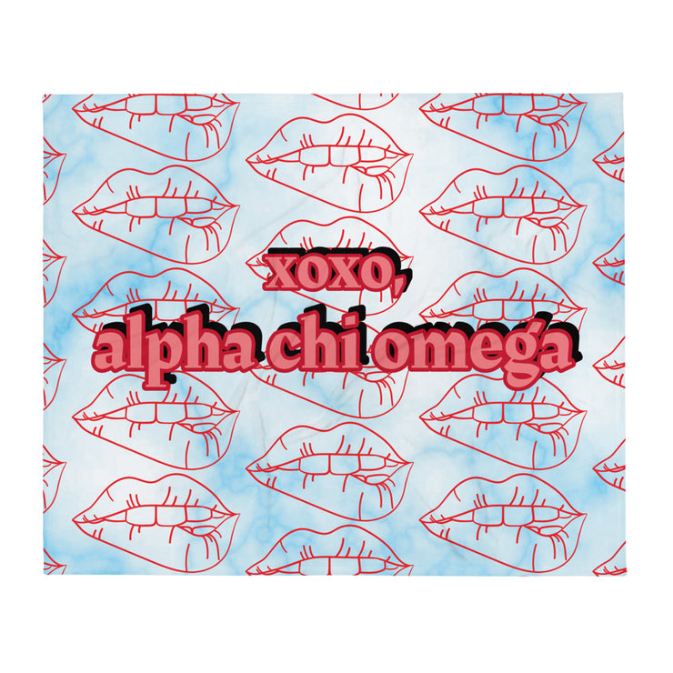 Alpha Chi Omega XOXO Throw Blanket