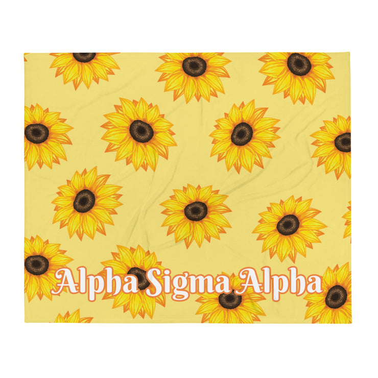 Alpha Sigma Alpha Sunflower Throw Blanket