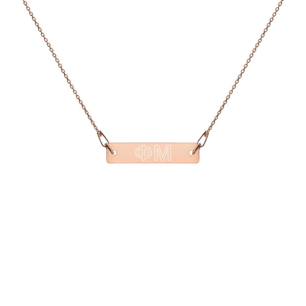 Phi Mu Engraved Bar Chain Necklace
