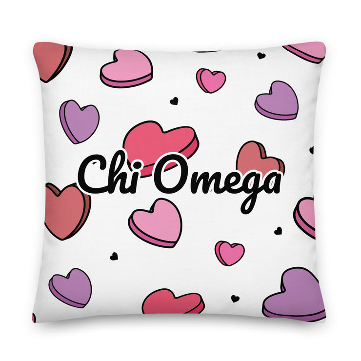 Chi Omega Candy Hearts Premium Pillow