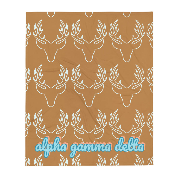 Alpha Gamma Delta Deer Throw Blanket