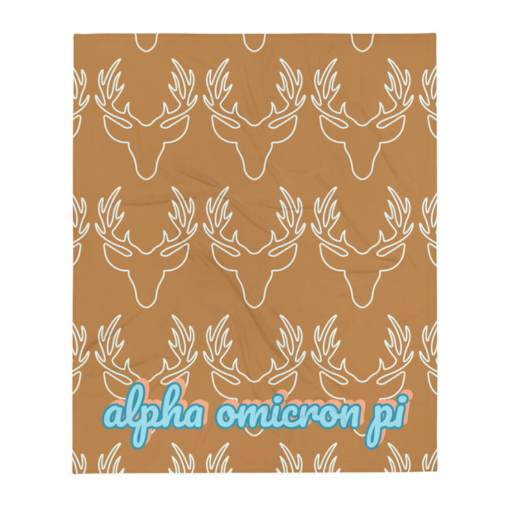 Alpha Omicron Pi Deer Throw Blanket