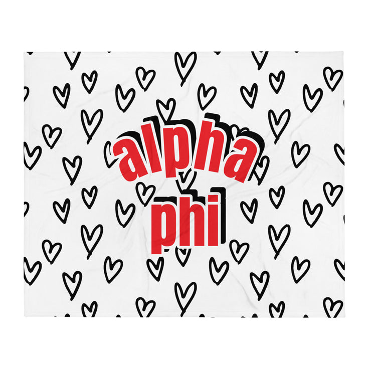 Alpha Phi Simple Heart Throw Blanket