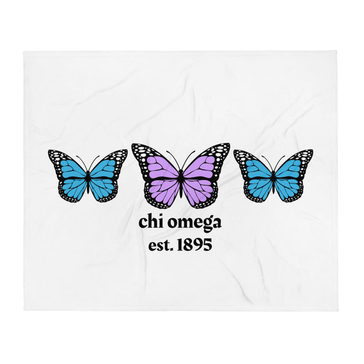 Chi Omega Butterfly Throw Blanket