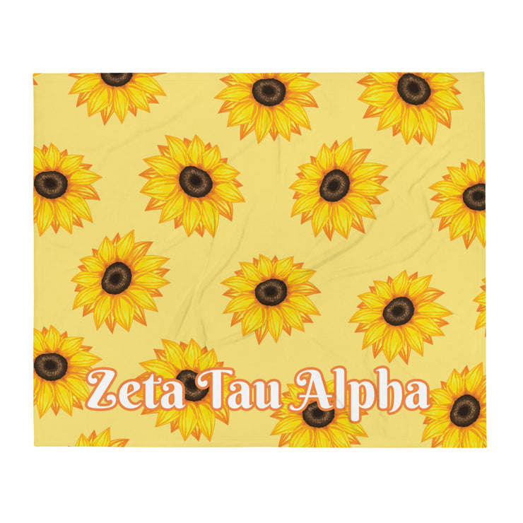 Zeta Tau Alpha Sunflower Throw Blanket