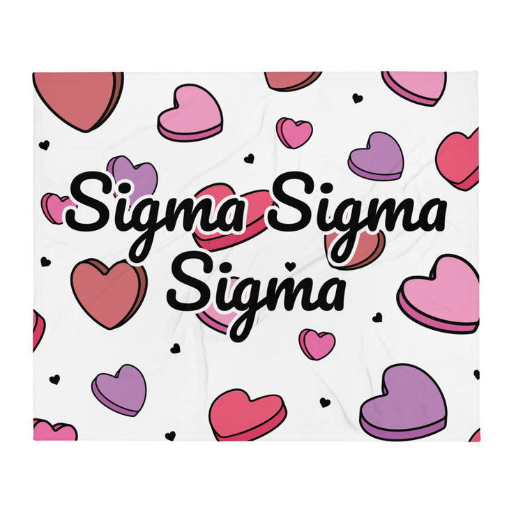 Sigma Sigma Sigma Candy Hearts Throw Blanket