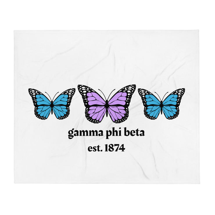 Gamma Phi Beta Butterfly Throw Blanket