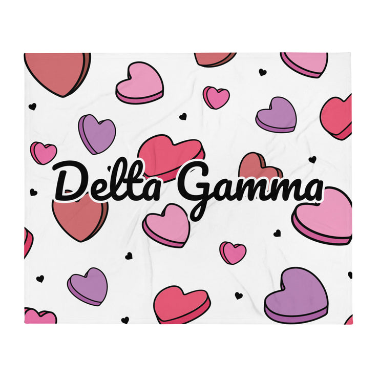 Delta Gamma Candy Hearts Throw Blanket
