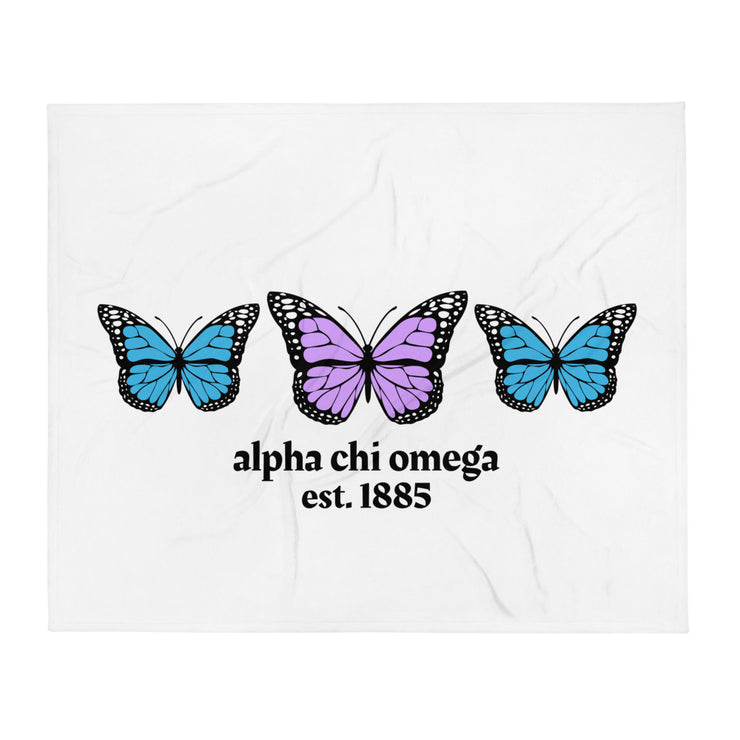 Alpha Chi Omega Butterfly Throw Blanket