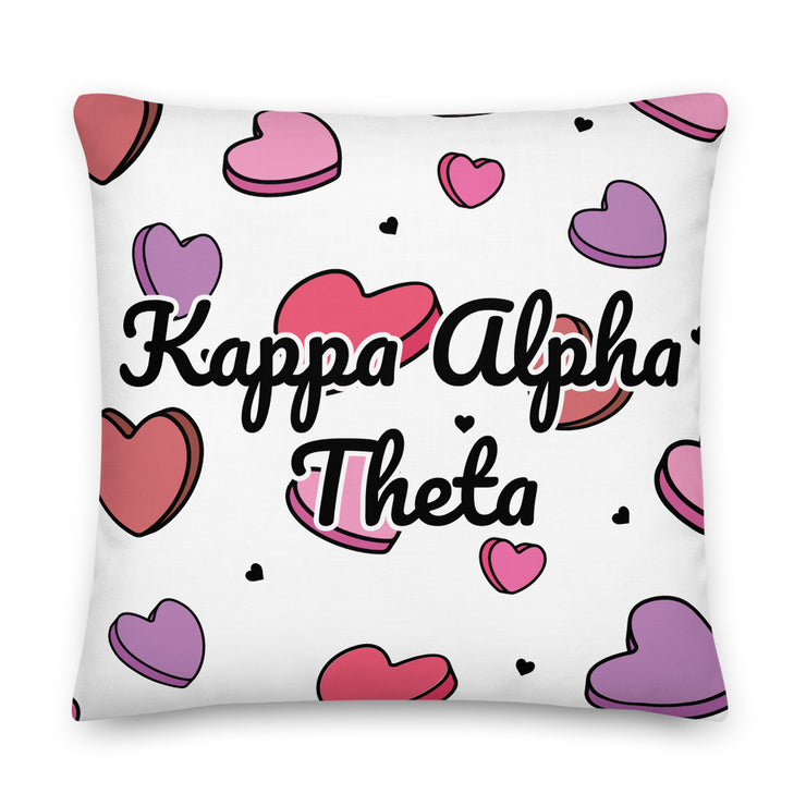 Kappa Alpha Theta Candy Hearts Premium Pillow
