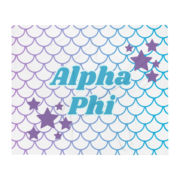 Alpha Phi Mermaid Throw Blanket