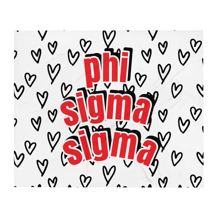 Phi Sigma Sigma Simple Heart Throw Blanket