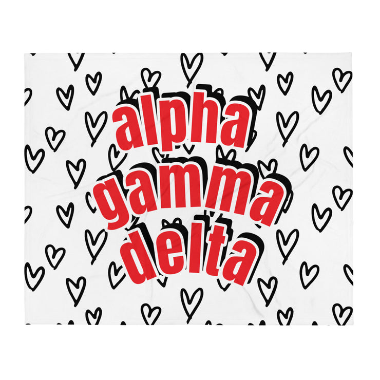 Alpha Gamma Delta Simple Heart Throw Blanket
