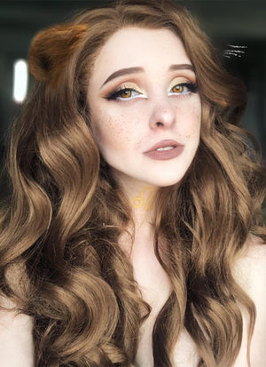 Chestnut Brown Wavy Lace Front Synthetic Wig LF109 - Wig Is Fashion Australia
