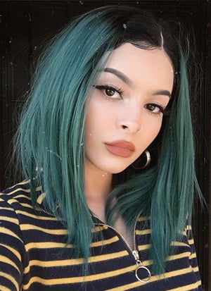 Dark Green With Dark Roots Straight Bob Lace Front Synthetic Wig LF819 - Wig Is Fashion Australia