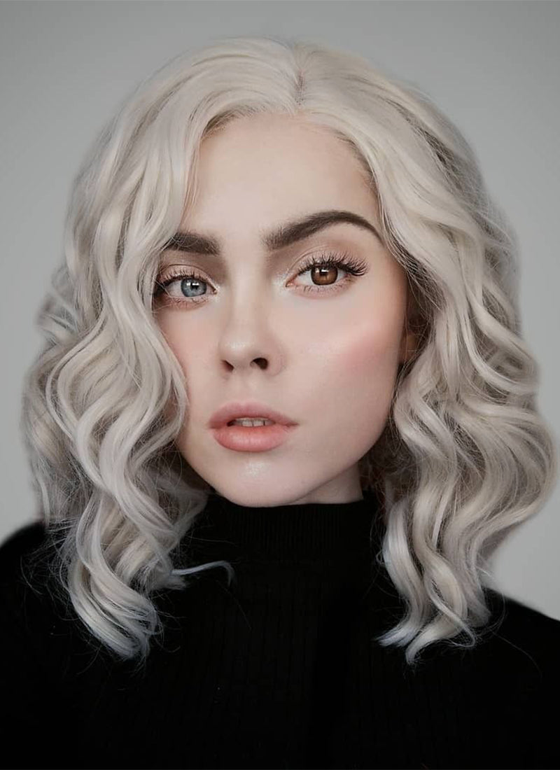 Ash Blonde Wavy Bob Lace Front Synthetic Wig LF831B - Wig Is Fashion Australia
