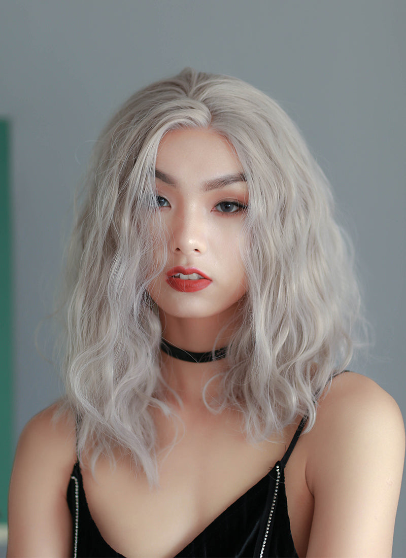 Pastel Grey Wavy Lace Front Synthetic Wig LF3118 - Wig Is Fashion Australia