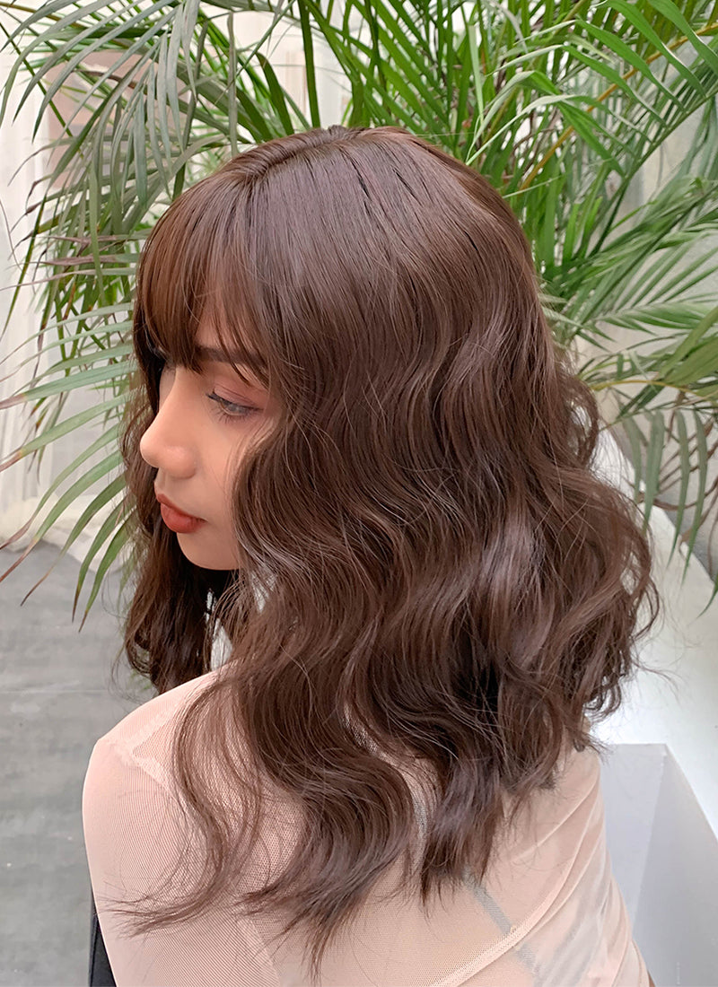 Brown Wavy Bob Synthetic Wig NS041 - Wig Is Fashion Australia